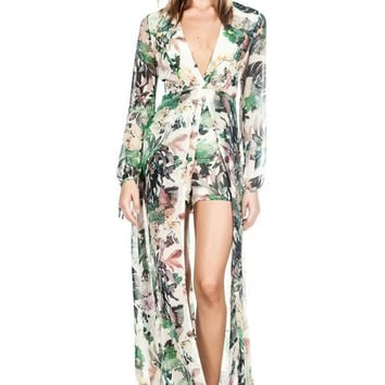 Leaf Print Chiffon Jumpsuit - Royal