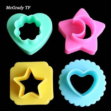4pcs/set Double-faced Geometric Flower Moon Star Heart Sushi Bread Rice Biscuit Fondant Mold Cookie Cake Decorating Cutter Gift
