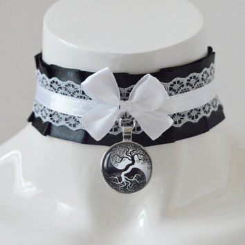 Gothic witch choker - Natural harmony - pleated collar necklace - dark victorian lolita goth vampire fantasy wiccan costume - kittenplay cgl