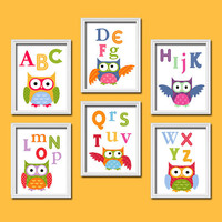 Bold Bright Colorful Alphabet Owl Artwork Set of 6 Prints Wall Decor Abstract Art Bedroom Picture Child Nursery
