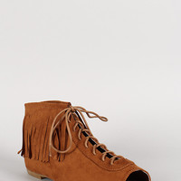 Bamboo Suede Fringe Lace Up Peep Toe Bootie