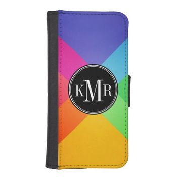 Modern Colorful Abstract - Geometric Monogram iPhone 5 Wallet Case