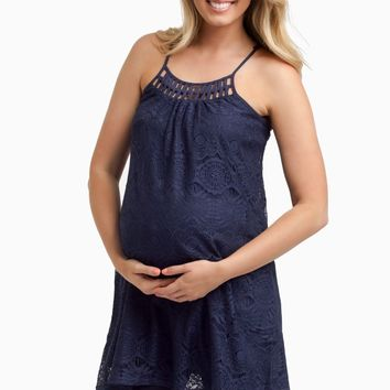 Navy Blue Lace Racerback Maternity Tank Top