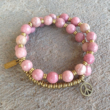 Self Love, faceted Rhodochrosite 27 bead wrap mala bracelet™