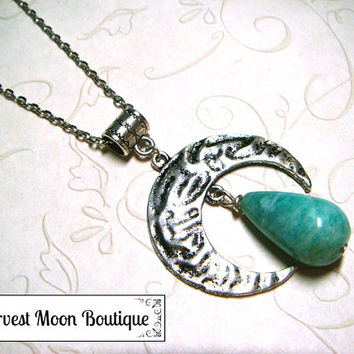 Natural Amazonite Gemstone Lunar Moon Necklace Metaphysical Spiritual Lunar Moon Jewelry Celestial Jewelry Wiccan Pagan Witchcraft Gift