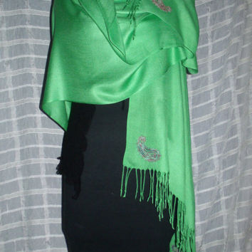 FALL SALE!! Beautiful Sage Green Pashmina Scarf (Cashmere/Silk) with Colorful Embroidered Paisley's