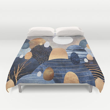 Little Land Of Pebbles - Blue Duvet Cover by Elisabeth Fredriksson