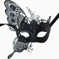 Butterfly Masquerade Laser-Trimmed Black Color Costume Mask
