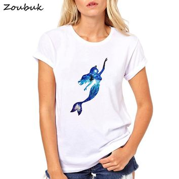 Mermaid T Shirt Women Summer Short Printed Tops Female T-shirt 2018 Funny Princess T shirts Camiseta Woman Clothing