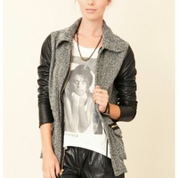 Jet by John Eshaya - Houndstooth Leather Sleeve Jacket