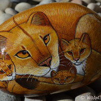 Hand Painted Rocks, Lioness with Cubs, Rock Crafts, Animal Paintings On Rock, Cats, Baby Animal Art, Brown, Gold, Orange, Leo, Lions