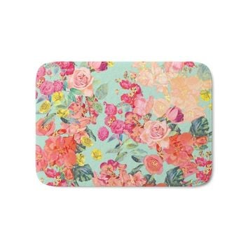 Autumn Fall welcome door mat doormat Antique Floral Print In Coral And Mint Tones Bath Mat Entrance  Bathroom Kitchen Carpets s for Living Room AT_76_7