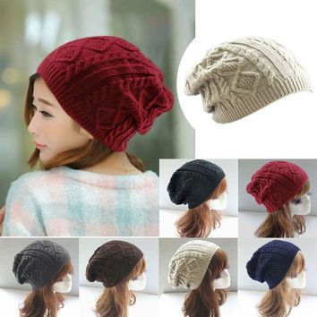 LMF9GW Hot 2016 Fashion Women thick Caps Twist Pattern Women Knitted Sweater Hats pom poms winter hat cotton beanies cap female W2