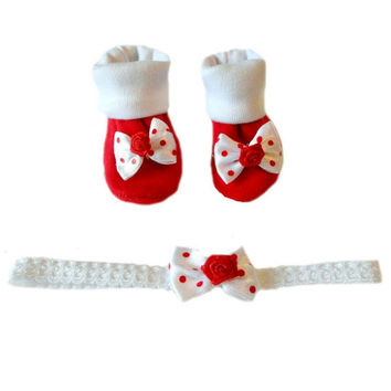 Baby Girls' Red Polka Dots Booties and Headband Set