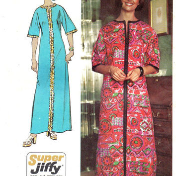 Simplicity 70s Sewing Pattern Retro Boho Hippie Caftan Maxi House Dress Robe Kimono Size Medium Bust 34 36
