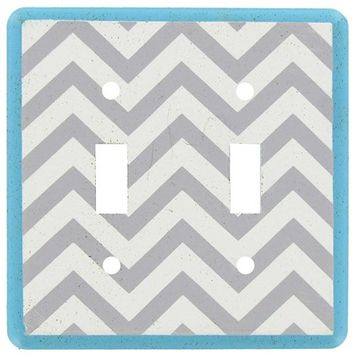Turquoise, White & Gray Chevron Double Plate | Shop Hobby Lobby