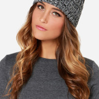 Obey Maywood Ivory and Black Knit Beanie