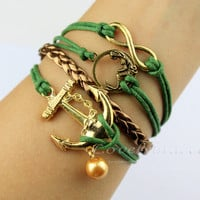 Golden infinity mermaid and anchor pearl pendant bracelet, blue charm wax rope bracelet - best friends