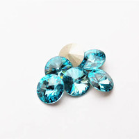 Six Light Turquoise 8mm 1122 Foiled Swarovski Pointed Back Rivoli DKSJewelrydesigns
