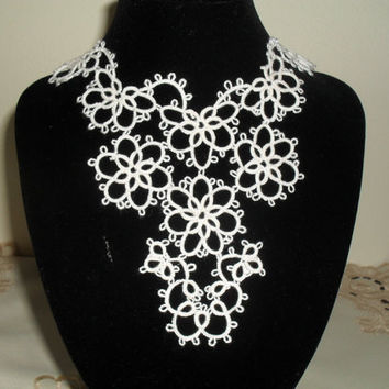 Handmade tatted collar necklace- Elegant Bride