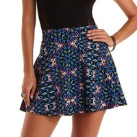Black Multi Kaleidoscope Print Skater Skirt by Charlotte Russe
