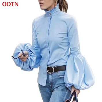 OOTN Long Wide Lantern Sleeve White Blue Blouse Women Button Down Shirts Female 2018 Spring Winter Fashion Tops Turtleneck