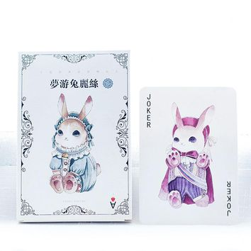 Cute Alice Rabbit Design Watercolor Fashion Cartoon Cards 14.3*9.3cm DIY Bookmark Message Cards Paper Book Markers Gift