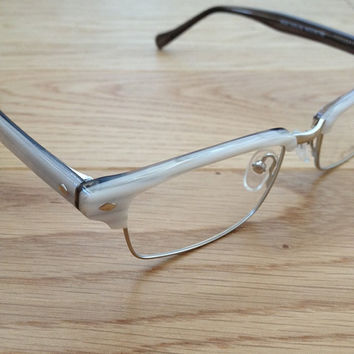 Designer reading glasses or optical glasses, White/Gray and Silver Frame, Plastic and Metal_ Unisex