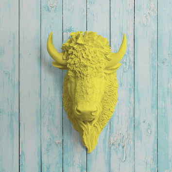 The Yellowstone Yellow Faux Bison Head