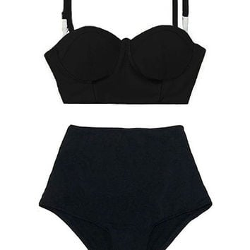 Black Block Midkini Top and High Waisted Waist Rise Shorts Bottom Women Swimsuit Bikini Swimwear Bathing suit Beach Swim suit suits wear S M