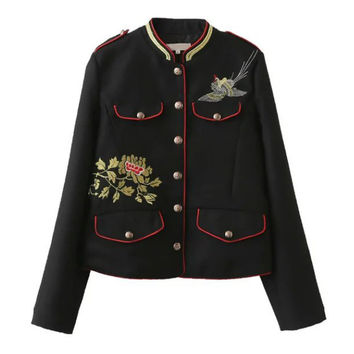 Flowers Birds Embroidery Military Pockets Jacket
