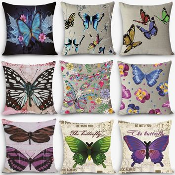 New Arrival cheap pillow beauty butterfly Print Home Decorative Cushion Throw Pillow Vintage Cotton Linen Square MYJ-B5