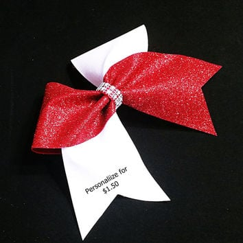 Cheer bow, Red cheer bow, White Cheer bow, Glitter cheer bow, cheerleader bow, cheerleading bow, cheerbow, softball bow, dance bow, bow