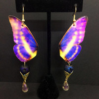 Butterfly Wing Earrings, Purple Butterfly Earrings, Paper Earrings, Butterfly Jewelry, Yellow Butterfly, Wing Jewelry, Dangle Earrings
