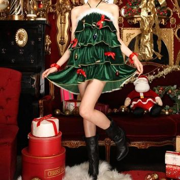 DCCKXT7 Women Christmas Tree Clothes Party Uniform Fashion Velvet Sleeveless Halter Cute Bow Frills Pompon Mini Dress