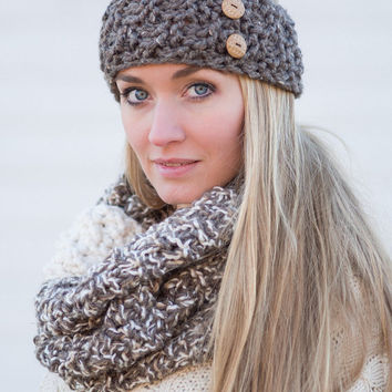 aa56bf5b95c The Button Band - Knitted Headband in BARLEY