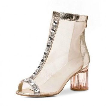 Posh Girl Rhinestones  Open Toe Boots
