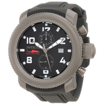 Invicta 1862 Men's Russian Diver Sea Hunter Black Dial Chronograph Black Rubber Strap Watch