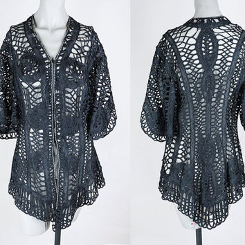 Vintage Edwardian Jacket / Antique 1900s Black Tape Lace Sheer Jacket S M
