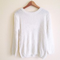Sasha Cream Knit Fuzzy Sweater
