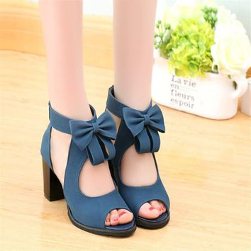 Gladiator Bow Female Party High Heels Shoes