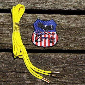 Yellow Para-cord Shoelaces/ 54 inch Silver Aglet Tipped by American Anarchy Brand