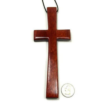 Wood Wall Cross, Bloodwood Wall Cross, Large Wooden Cross Wall Hanging, South American Bloodwood, 7 inches x 2 3/4 inches, Gifts Under 50