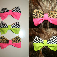 Neon Hair Bows - Chevron, Leopard- Each Sold Separately BACK IN STOCK