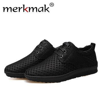 Merkmak Air Mesh Flat Casual Breathable Men's Lace Up Footwear