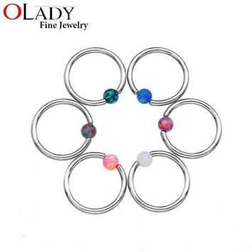 ac PEAPO2Q Septum Piercing Opal Stone Closure [100% Titanium] Lip Tragus Eyebrow Earring Nose Rings Body Jewelry