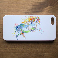 Beautiful Illustrated Rainbow Horse Painting on White Hard Plastic iPhone 4 4s 5 5s Case
