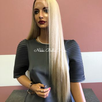 Full Lace Wig in Natural Blonde and Rooting