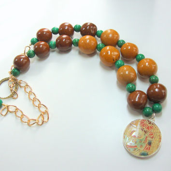 Women, Jewelry, Tan Brown Green Tagua Nut Beads, Pottery Shard Pendant Necklace