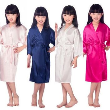 Baby Girls Kid Silk Satin Kimono Robes Bathrobe Sleepwear Wedding Flower Girl Night Dress